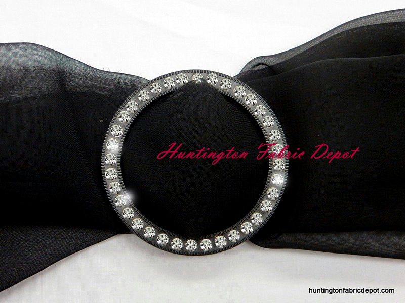 Fancy Round Black and Rhinestone Buckle