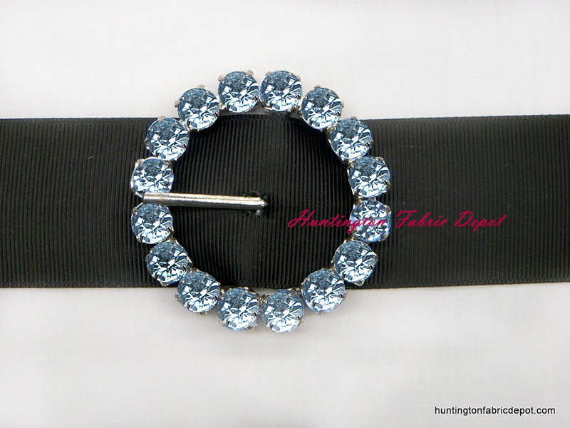 Decorative Blue Jeweled Round Buckle