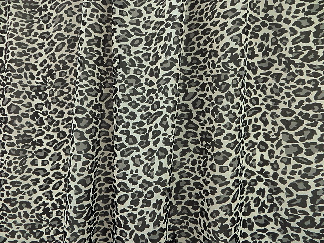 Black/White Cheetah Print Chiffon Fabric