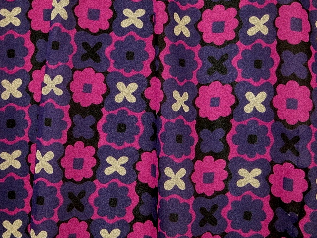 Hot Pink/Purple Floral Georgette Fabric