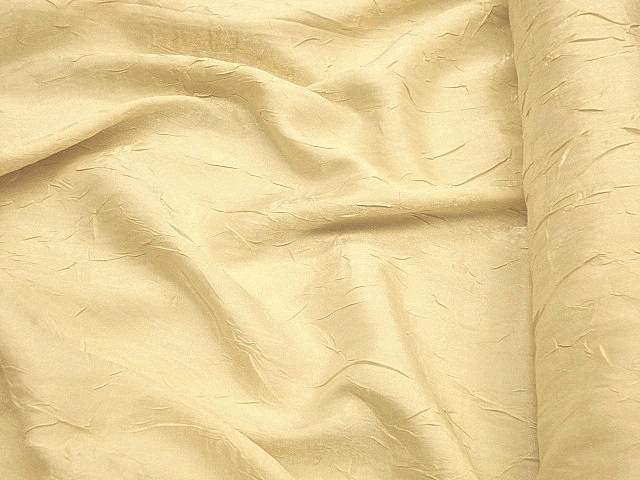 Light Yellow Crushed Shimmer Satin Fabric