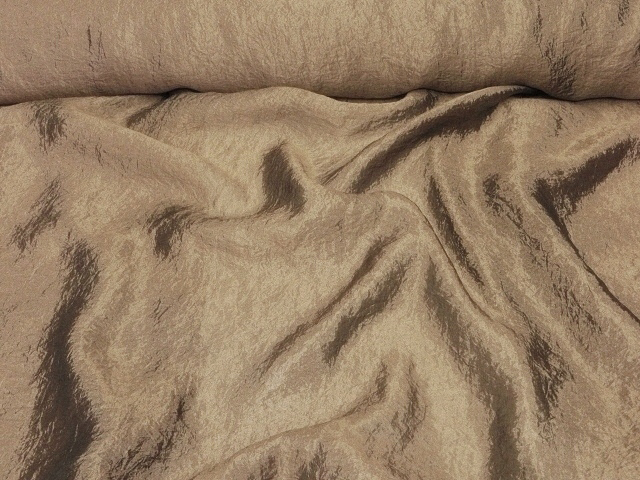 Light Brown Crushed/Crinkled Organza Fabric