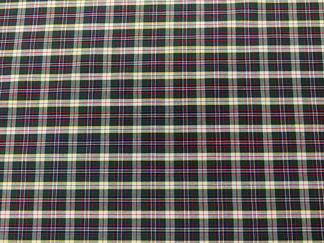 Poly-Cotton Lightweight Plaid Fabric
