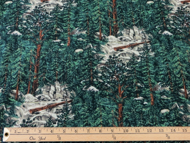Pine Trees Printed Cotton by Blank Quilting