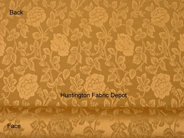 Curry/Golden Tan Jacquard-Design Floral Vine