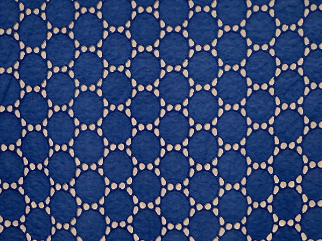 Royal Blue Embroidered Eyelet Fabric
