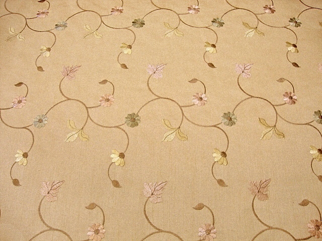 Embroidered Tan Shantung Fabric