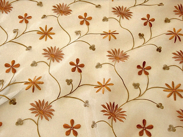 Elegant Brown Embroidered Organza Fabric