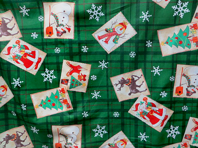 Green Christmas Print Fabric