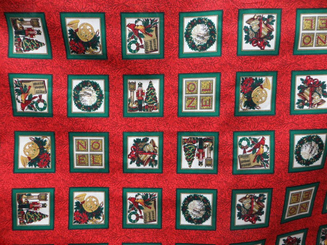 Red Christmas Print Cotton Fabric