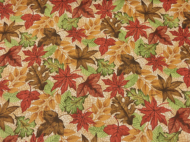 Autumn Leaves Print Fabric