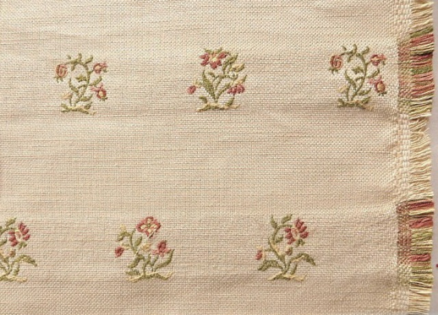 Light Beige Embroidered Linen​ Fabric