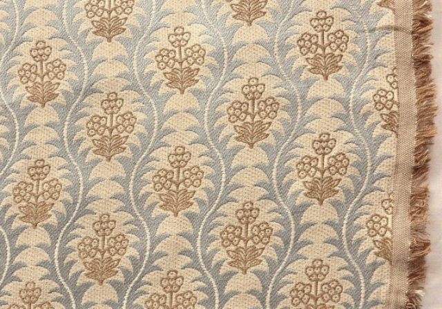 Gold/Blue Floral Upholstery Fabric