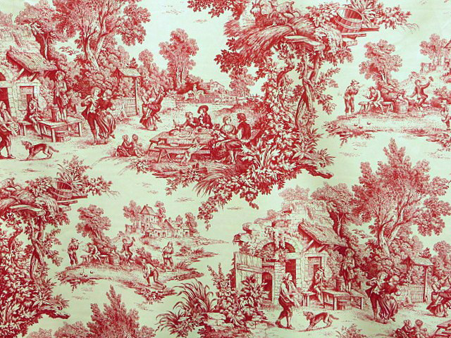Red/White French Toile Fabric