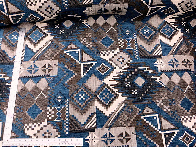 Blue/Brown Heavy Geometric Chenille Fabric