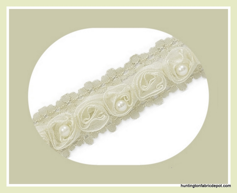 Ivory Beaded Rosette Lace Trim