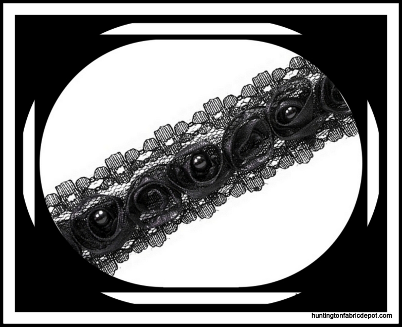 Black Beaded Rosette Lace Trim