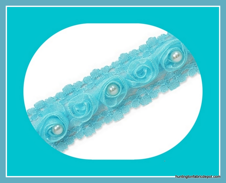 Blue Beaded Rosette Lace Trim