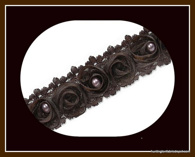 Chocolate Beaded Rosette Lace Trim