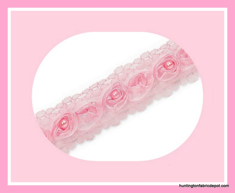 Pink Beaded Rosette Lace Trim