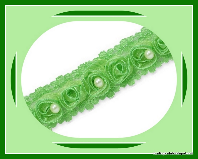 Peapod Beaded Rosette Lace Trim
