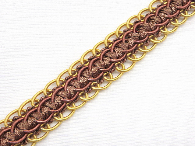 Chocolate/Gold Scalloped Braid Trim by Linda