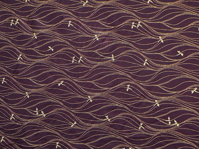 Plum/Gold Stretch Dragonfly Print Fabric