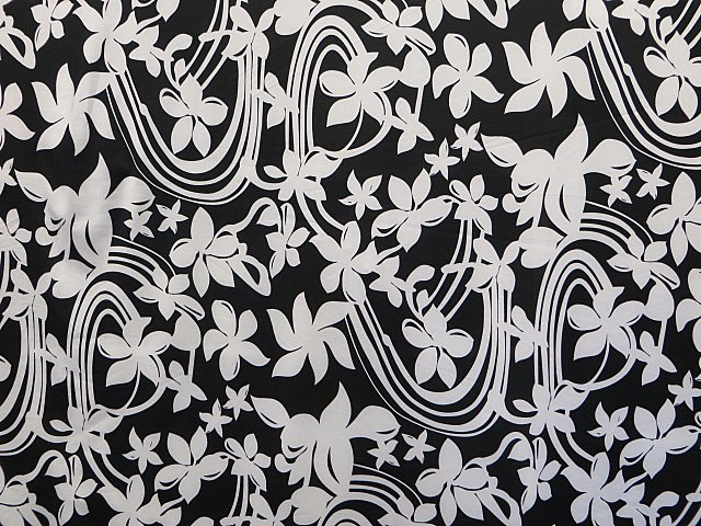 Black/White Stretch Floral Print Fabric