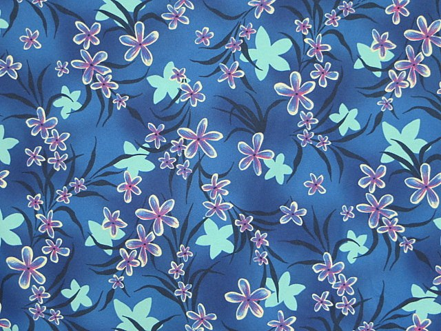 Blue/Pink Stretch Floral Knit Fabric