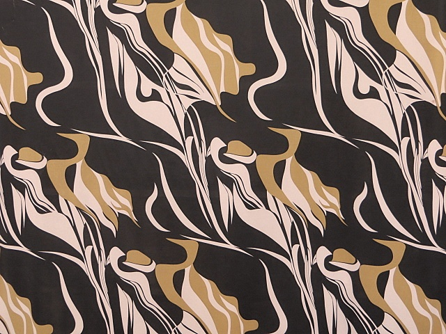 Black/Gold Stretch Fashion Print Fabric