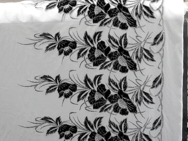 White/Black Floral Lace Fabric