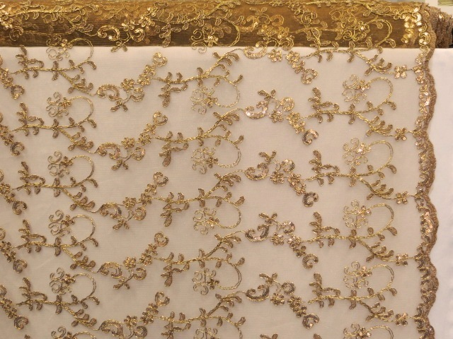 Dark Gold Double Scalloped Mesh Fabric