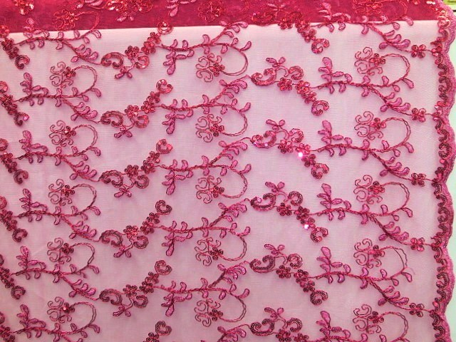 Fuchsia Double Scalloped Mesh Fabric