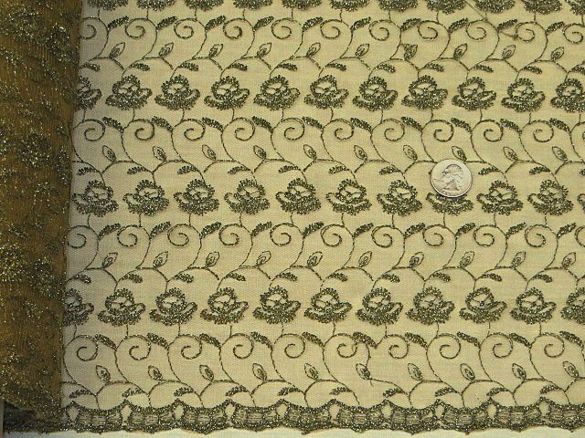 Olive/Silver Double Scalloped Embroidered Lace Fabric