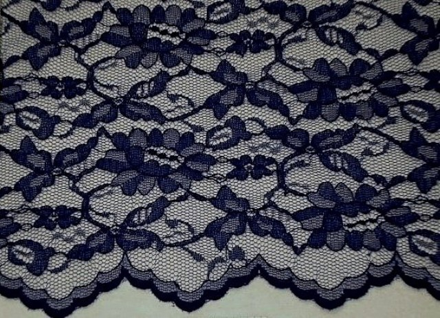 Navy Scalloped Lace Fabric