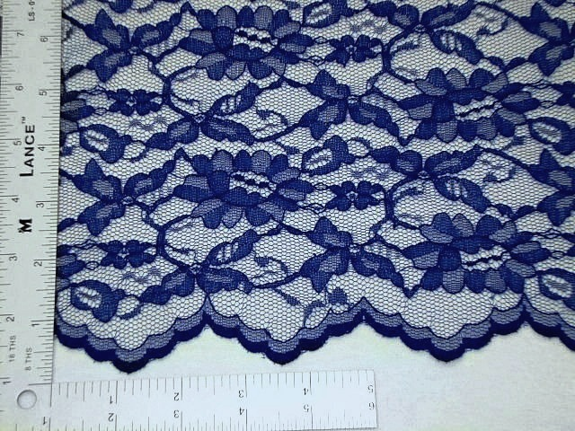 Royal blue scalloped lace fabric