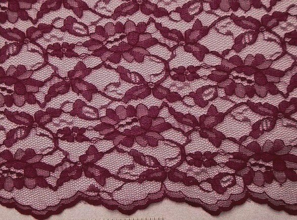Red Plum Scalloped Lace Fabric