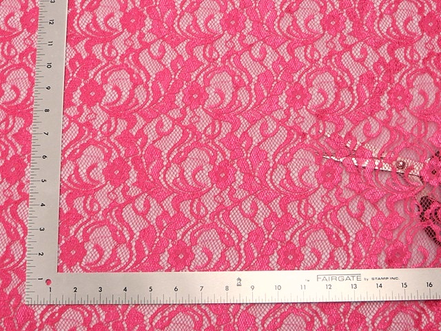 Fuchsia stretch lace fabric