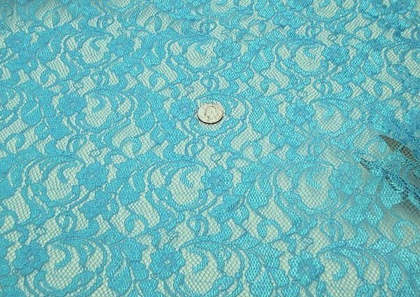 Turquoise stretch lace fabric