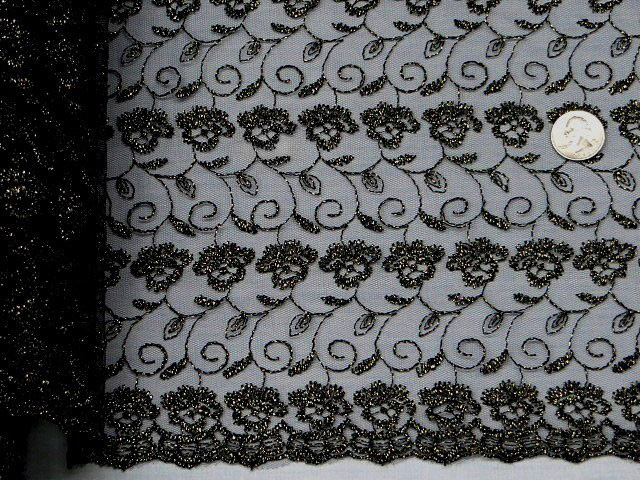 Black/Gold Double Scalloped Embroidered Lace Fabric