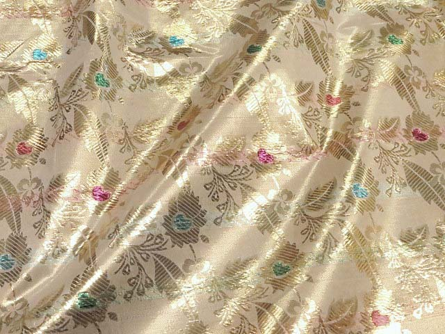 Gold/Ivory Metallic Floral Fabric
