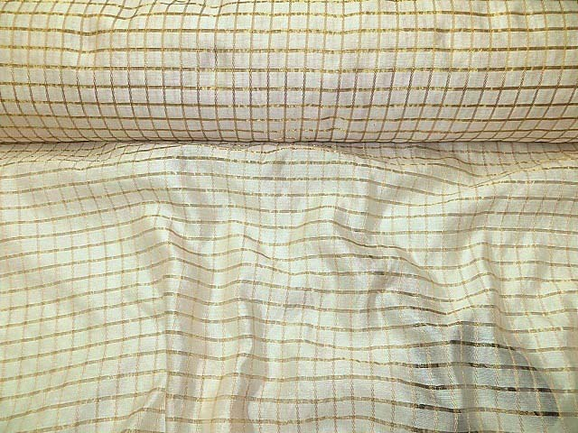 Off-white/Gold Silk Check Fabric