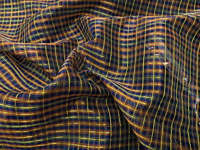 Metallic Brown/Gold Silk Plaid Fabric