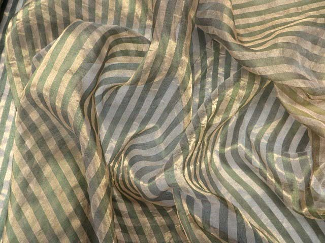 Green/Gold Striped Silk Fabric