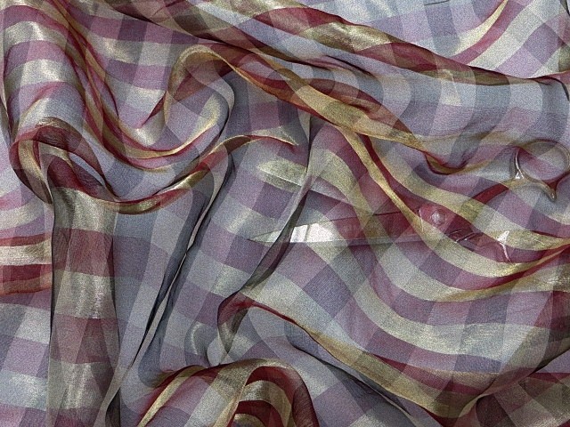 Burgundy/Gold Silk Check Fabric