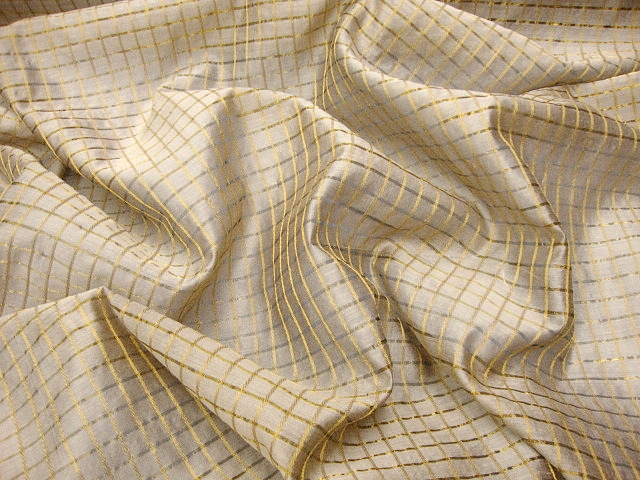 Beige/Gold Check Silk Fabric
