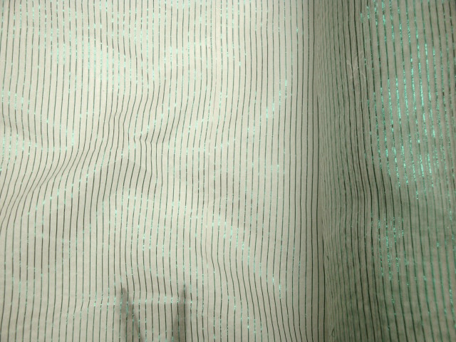 Green Metallic Pinstriped Silk Fabric