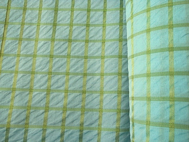 Parakeet Metallic Check Fabric