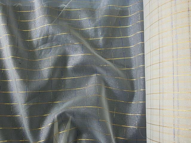 Off White Sheer Metallic Check Fabric