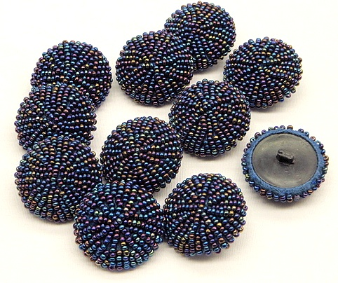 Blue-Multi Beaded Button